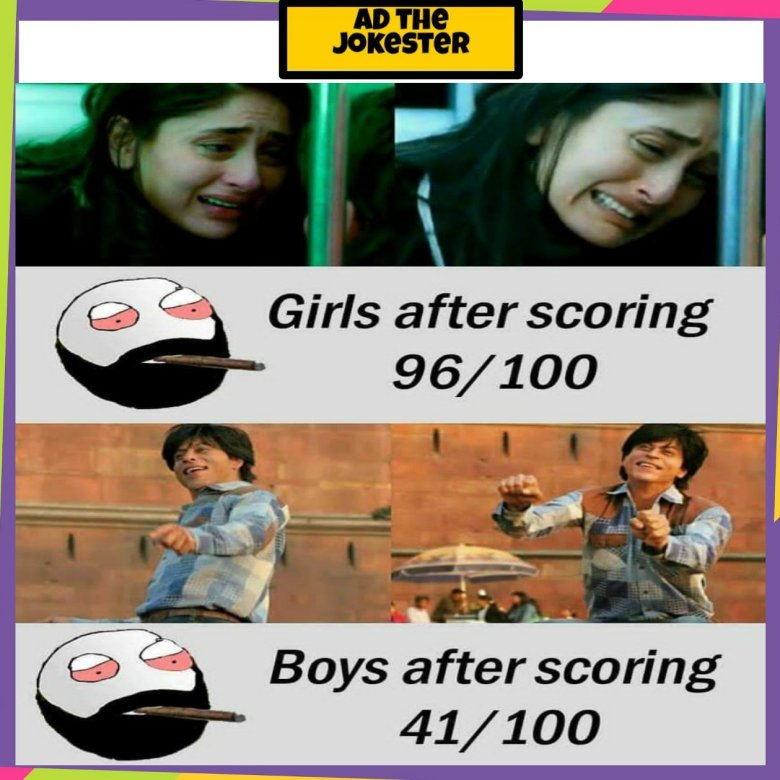 Instagram meme about girls and boys how they react on their result